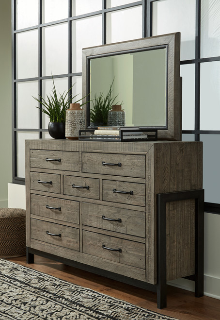 Brennagan Gray Dresser, Mirror