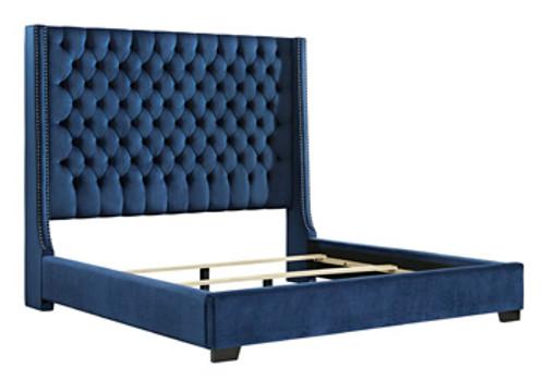 Coralayne Blue Queen Upholstered Headboard
