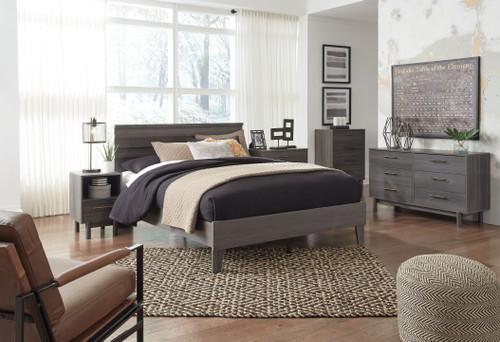 Brymont Dark Gray 6 Pc. Dresser, Three Drawer Chest, Four Drawer Chest, Full Panel Platform Bed, Nightstand