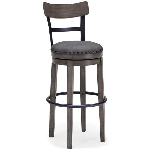 Caitbrook Gray Tall Upholstered Swivel Barstool(1/CN)