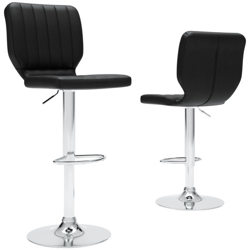 Pollzen Black Tall Upholstered Swivel Barstool(Set of 2)
