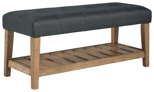 Cabellero Charcoal/Brown Upholstered Accent Bench