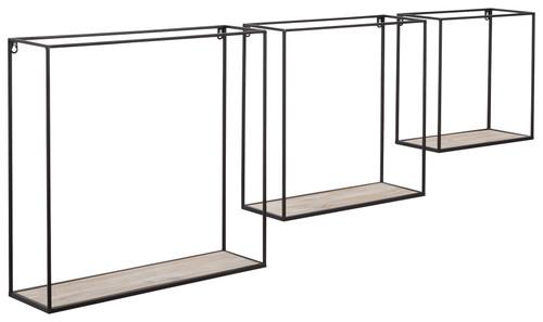 Efharis Black/Antique Gray Wall Shelf Set (3/CN)
