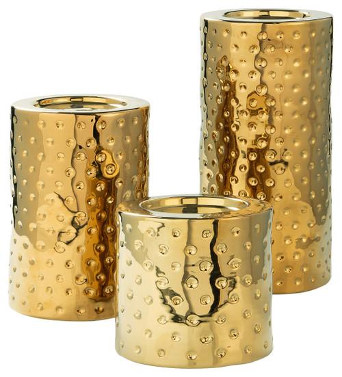 Marisa Gold Finish Candle Holder Set (3/CN)