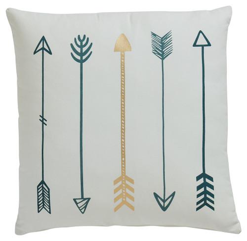 Gyldan White/Teal/Gold Pillow (4/CS)