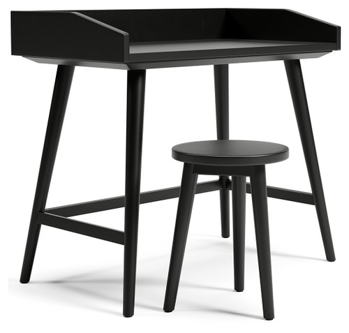 Blariden Metallic Gray Desk w/Stool
