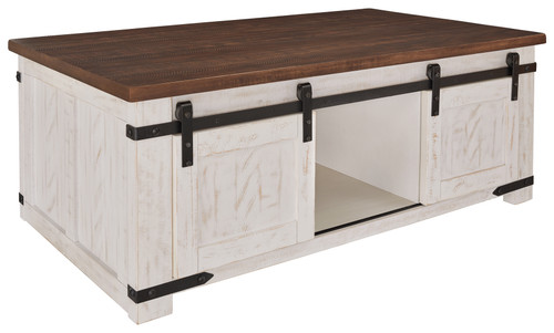Wystfield White/Brown Rectangular Cocktail Table