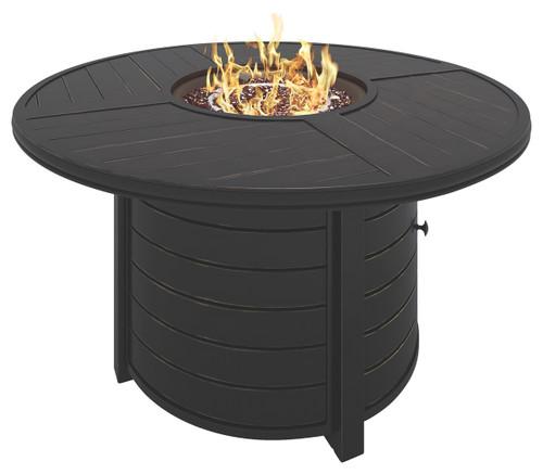 Castle Island Dark Brown Round Fire Pit Table