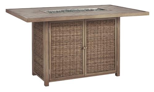 Beachcroft Beige Rectangular Bar Table w/Fire Pit