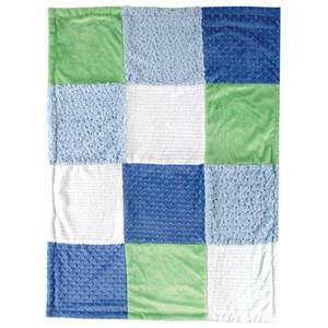 Blue Multi Blocks Minky Blanket