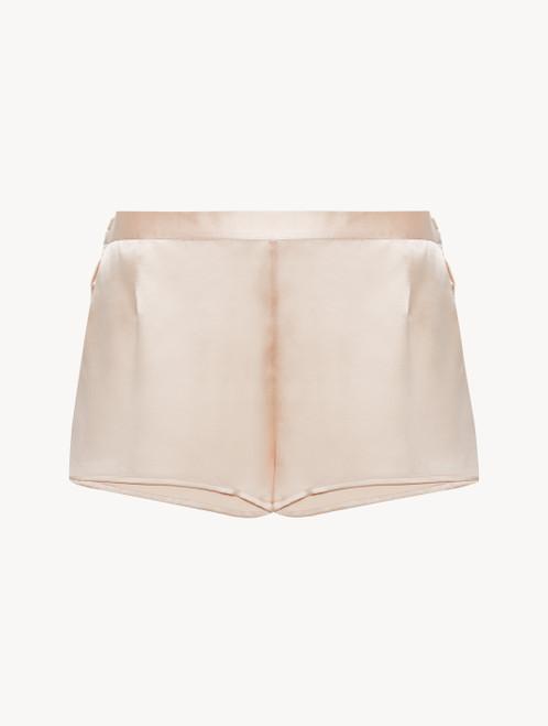 Short in seta rosa perlato