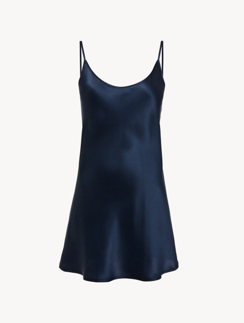 Slipdress in seta blu navy