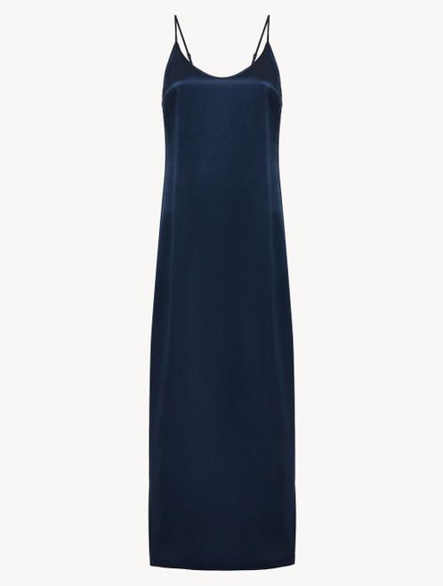 Camicia da notte in seta blu navy