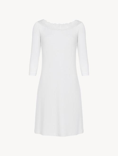 Camicia da notte bianca in modal stretch con pizzo Leavers