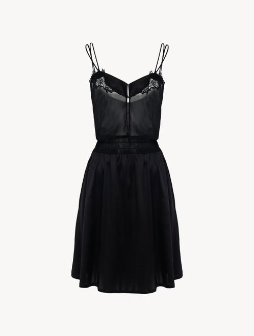 Camicia da notte in raso di seta nero con tulle ricamato