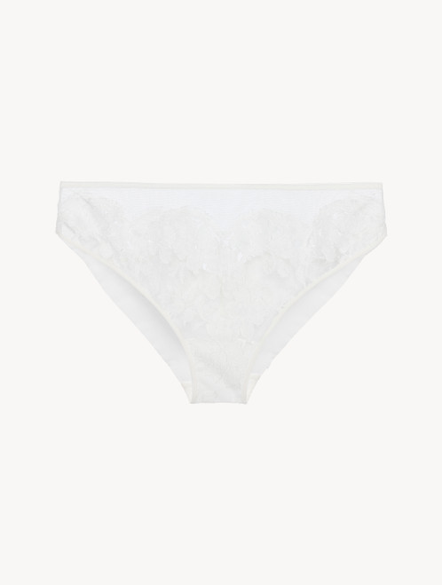 Slip medio in georgette di seta off-white con pizzo Leavers