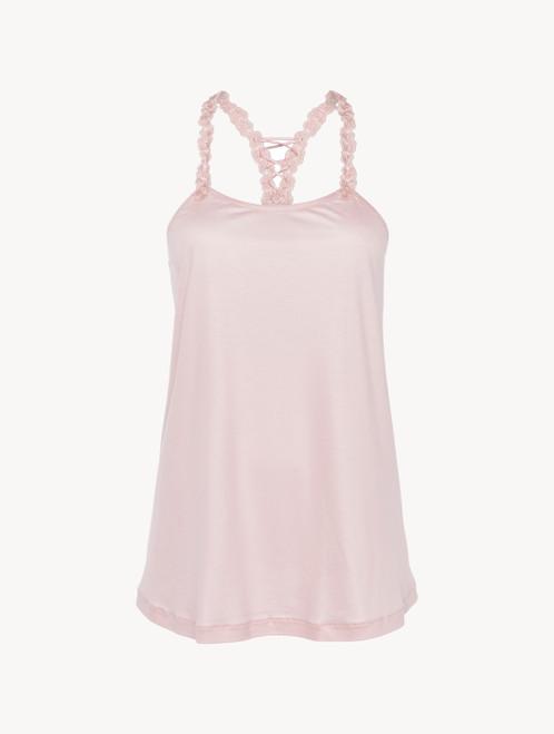 Canotta in modal rosa con tulle ricamato