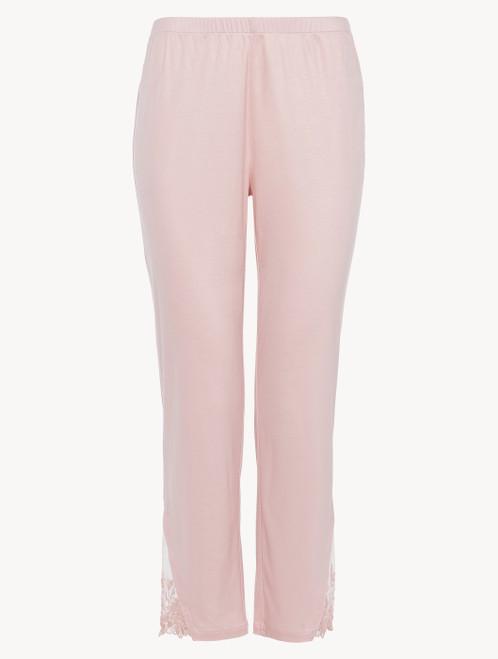 Pantalone in modal rosa con tulle ricamato