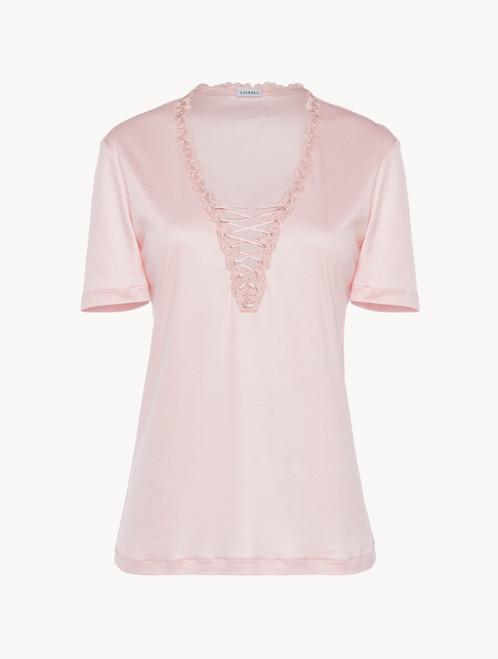 T-shirt in modal rosa con tulle ricamato