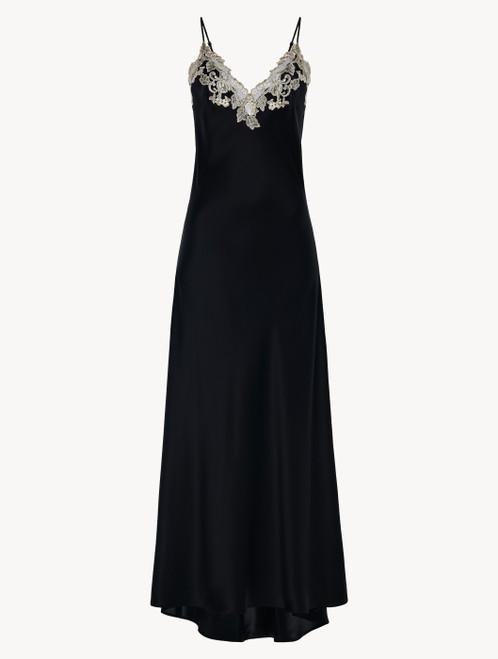 Camicia da notte lunga in seta nera con frastaglio