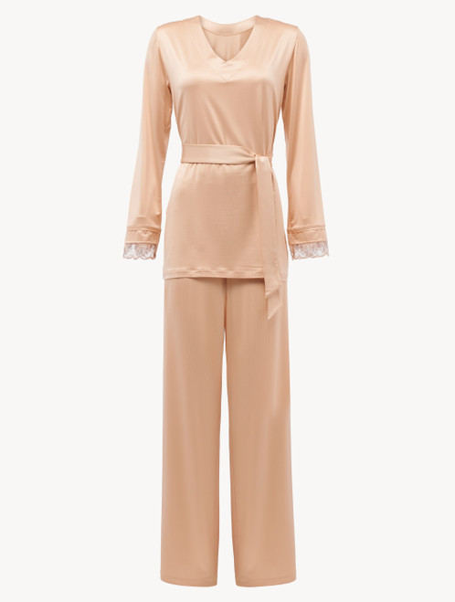 Pigiama in viscosa stretch beige e tulle