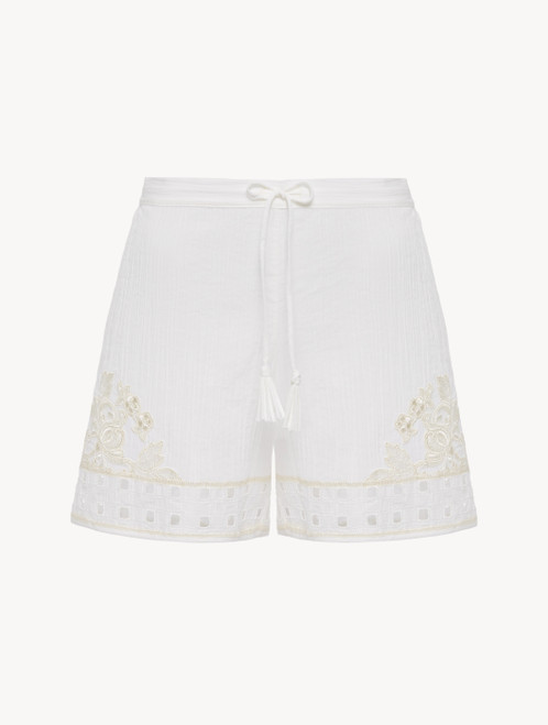 Short in cotone off-white