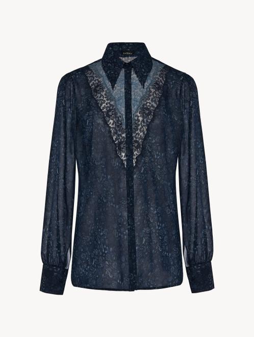 Camicia in georgette di seta blu con pizzo Leavers