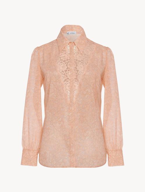Camicia in georgette di seta rosa con pizzo Leavers