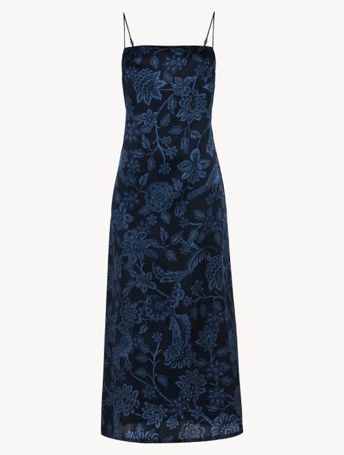 Camicia da notte in raso di seta blu con pizzo Leavers