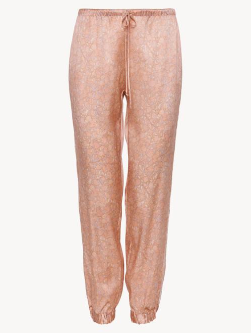 Pantalone in raso di seta rosa