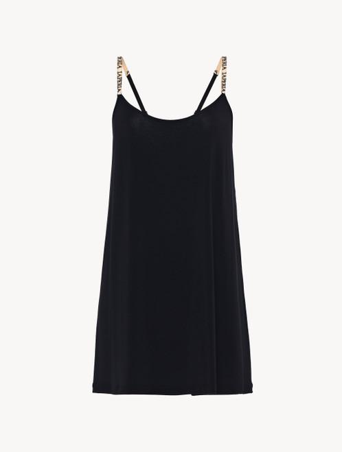 Slipdress in jersey di misto seta e modal nero