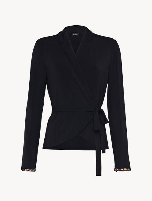 Top in jersey di misto seta e modal nero