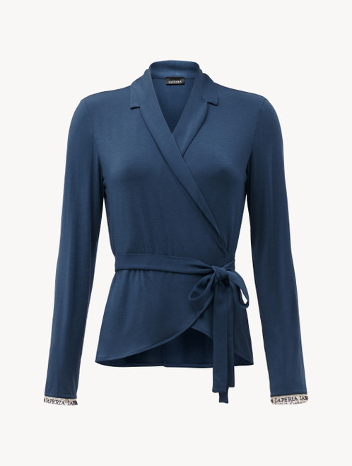 Top in jersey di misto seta e modal blu
