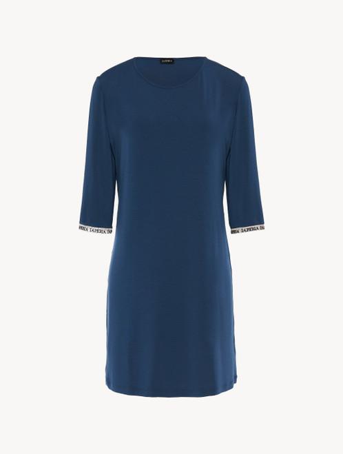 Camicia da notte in jersey di misto seta e modal blu