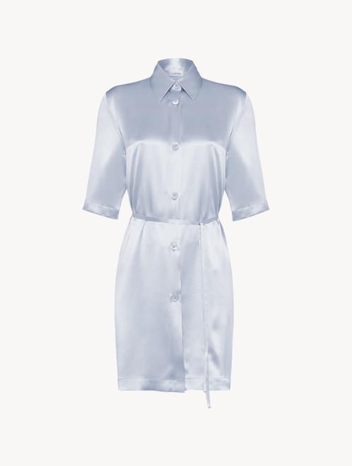 Camicia da notte midi in seta azzurra