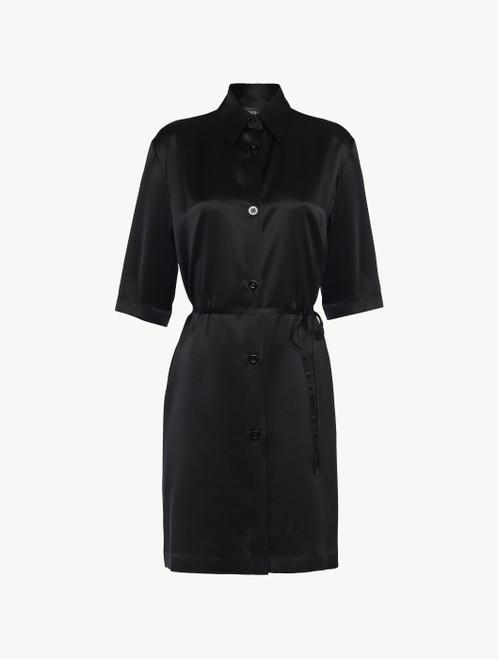 Camicia da notte midi in seta nera