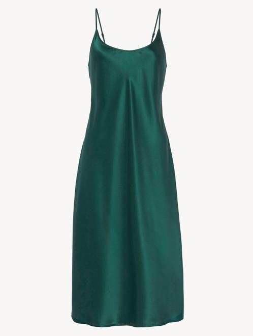 Camicia da notte midi in seta verde smeraldo - ONLINE EXCLUSIVE