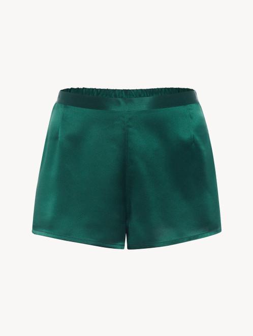 Short in seta verde smeraldo - ONLINE EXCLUSIVE