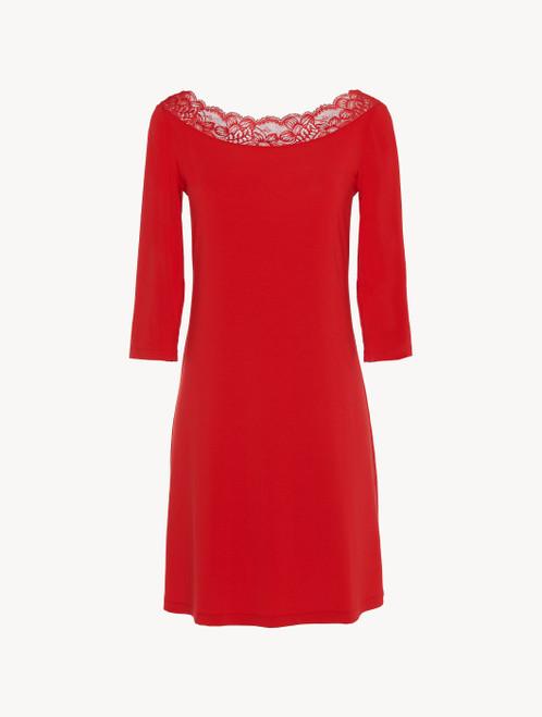 Camicia da notte corta in modal stretch rosso granato con pizzo Leavers
