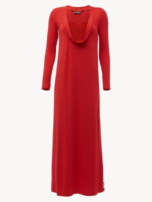Camicia da notte lunga a maniche lunghe in modal stretch rosso granato con pizzo Leavers