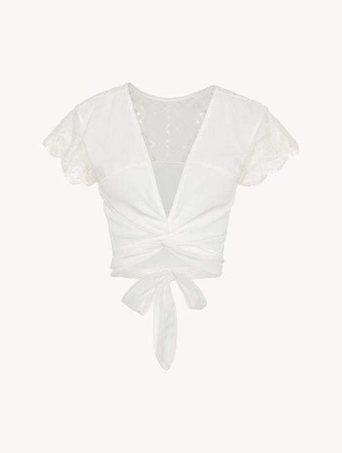 Top corto in cotone bianco