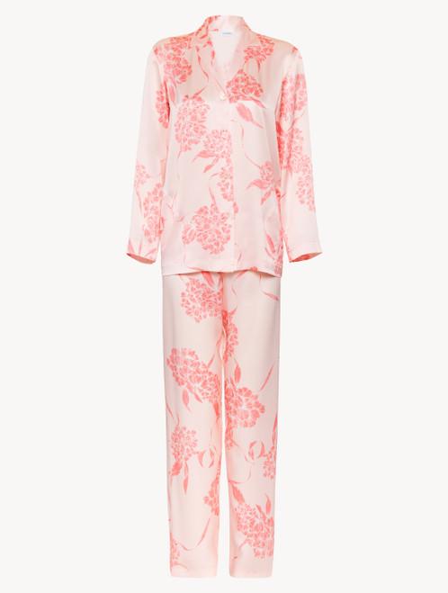 Pigiama lungo in seta con motivi floreali rosa tenue