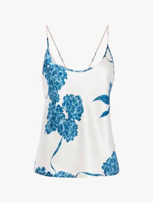 Canotta in seta con motivi floreali azzurro polvere