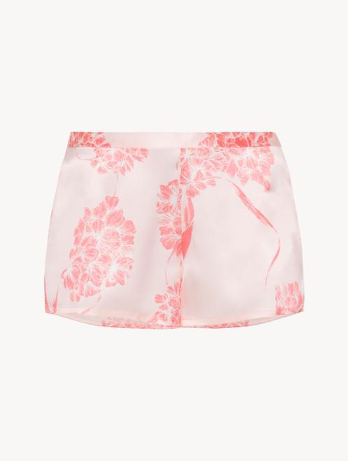 Short in seta con motivi floreali rosa tenue
