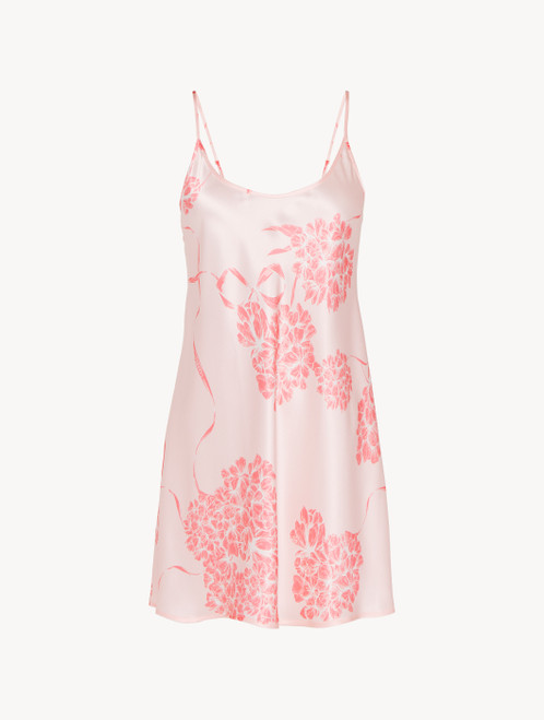 Slipdress in seta con motivi floreali rosa tenue