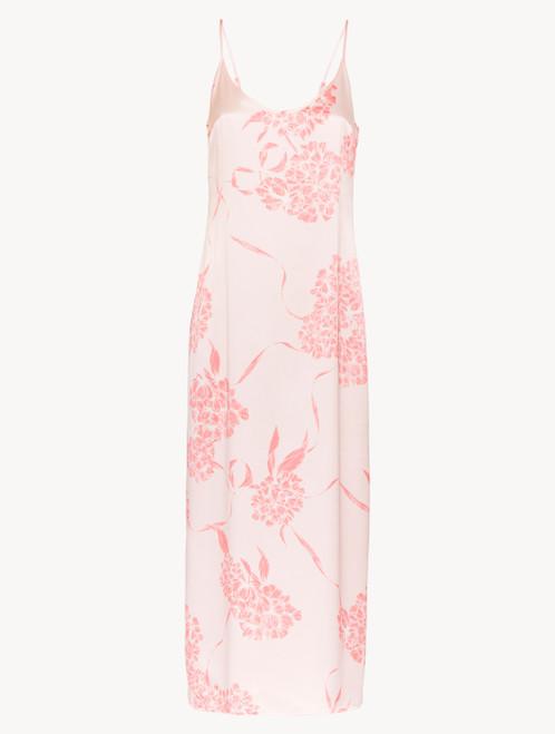 Slipdress lungo in seta con motivi floreali rosa tenue