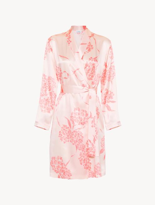 Vestaglia corta in seta con motivi floreali rosa tenue