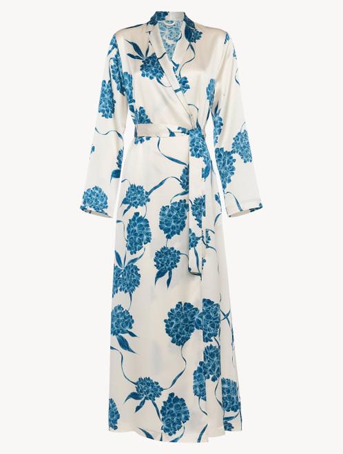 Vestaglia lunga in seta con motivi floreali azzurro polvere