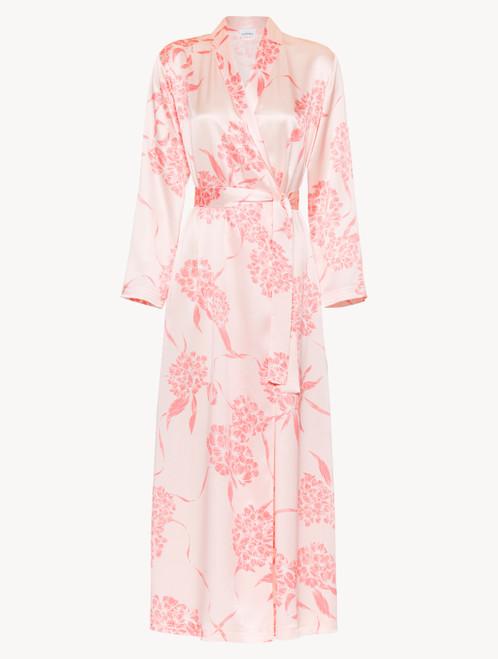 Vestaglia lunga in seta con motivi floreali rosa tenue