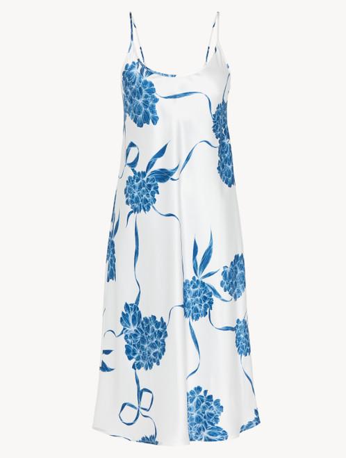 Camicia da notte midi in seta con motivi floreali azzurro polvere
